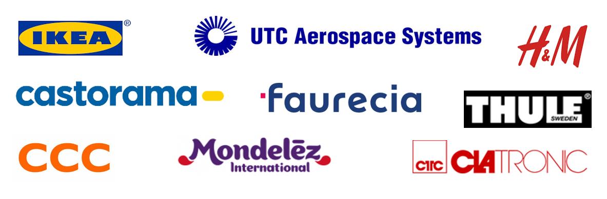 Logotypy Klientów: IKEA, Collins Aerospace, H&M, Castorama, Faurecia, Thule, CCC, Mondelez, Clatronic