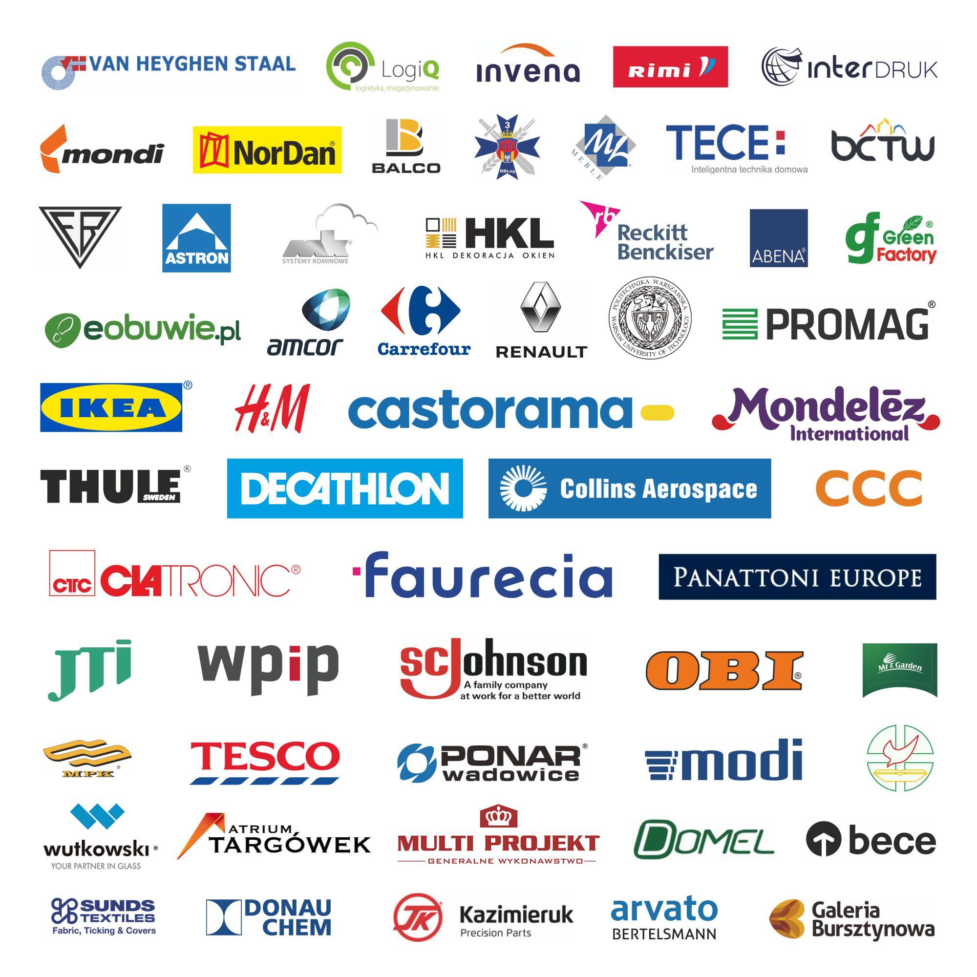 WISENE's costumers logos: Panattoni Europe, Decathlon, Ikea, Castorama, CCC, Collins Aerospace