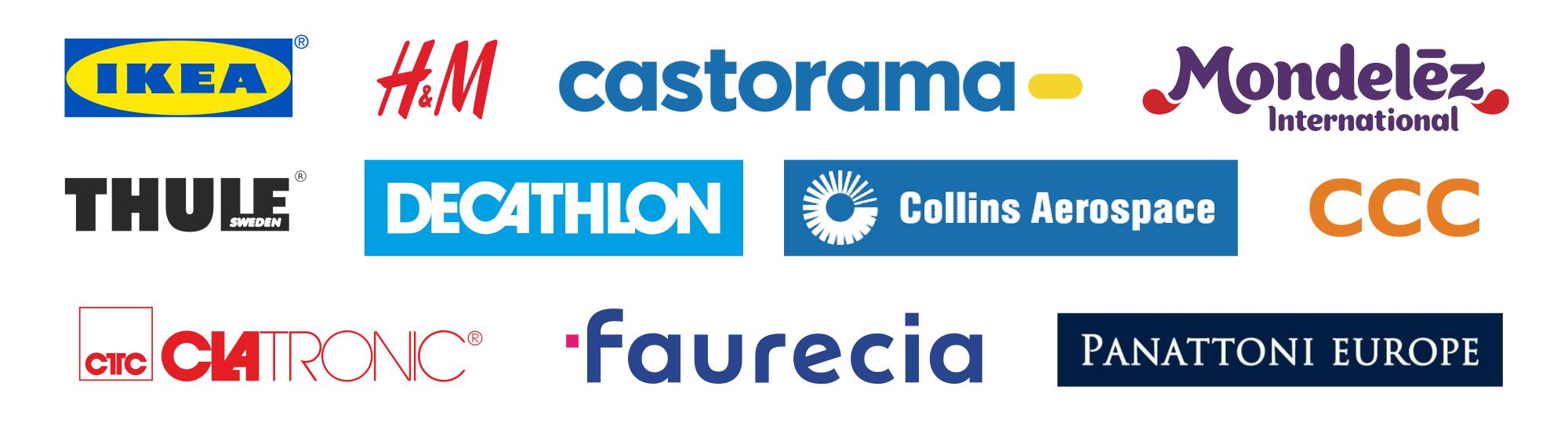 Logotypy Klientów: IKEA, H&M, Castorama, Mondelez, Thule, Decathlon, Collins Aerospace, CCC, Clatronic, Faurecia, Panattoni Europe