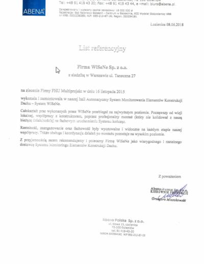 Referencje dla WISENE od firmy Abena