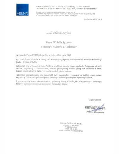 Abena referencje dla firmy WISENE. Montaż systemu monitoringu dachu.