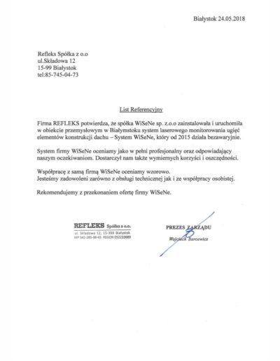 Refleks referencje dla firmy WISENE. Montaż systemu monitoringu dachu.