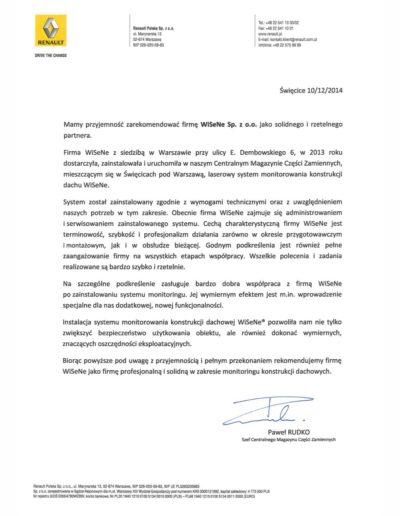 Renault referencje dla firmy WISENE. Montaż systemu monitoringu dachu.