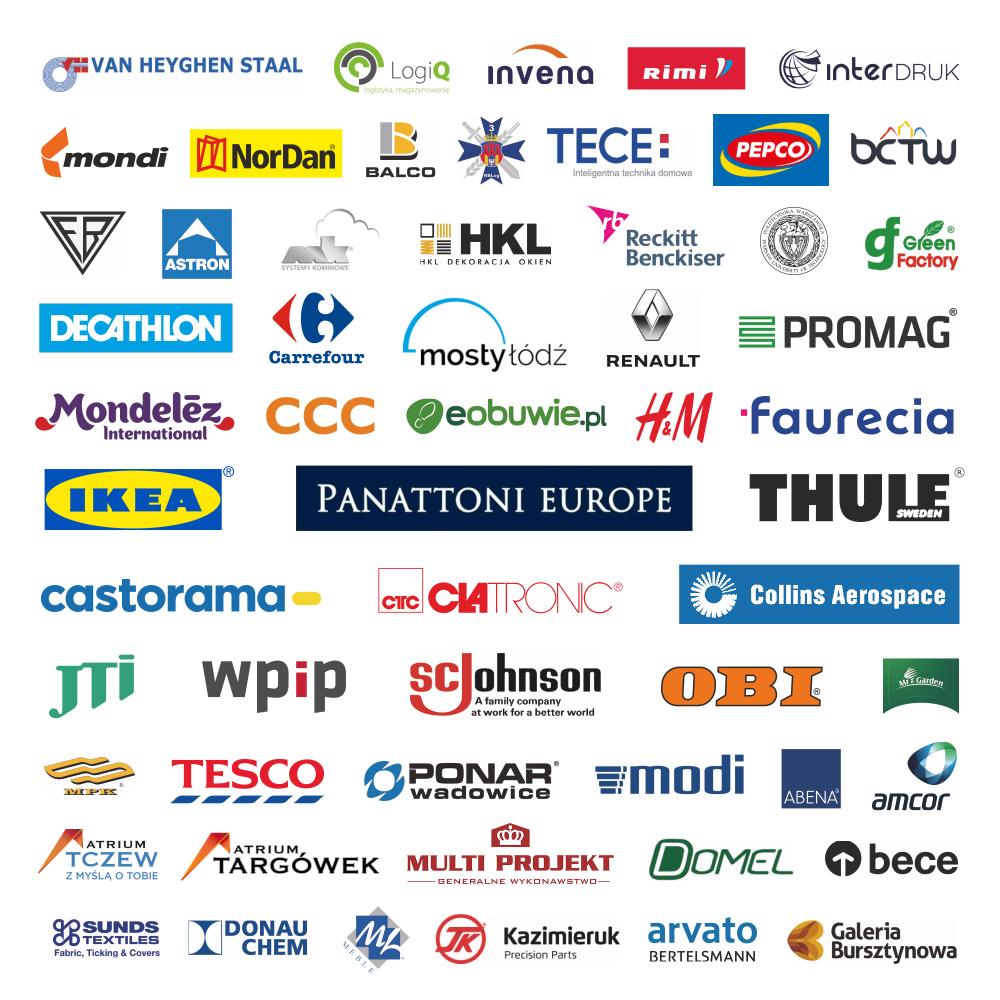 Logotypy firm, które używają WISENE Roof Monitoring